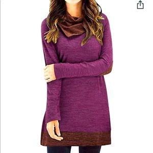 Styleworld XXL Cowl Neck Elbow patch tunic sweater